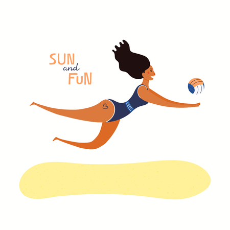 Hand drawn vector illustration of a happy woman playing beach volleyball, with quote Sun and fun. Isolated objects on white background. Flat style design. Concept, element for summer poster, banner. Ilustração