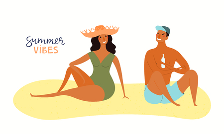 Hand drawn vector illustration of a happy couple on the beach talking, with lettering quote Summer vibes. Isolated objects on white background. Flat style design. Concept, element for poster, banner. Ilustração