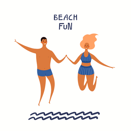 Hand drawn vector illustration of a happy couple jumping in the water, with lettering quote Beach fun. Isolated objects on white background. Flat style design. Concept, element summer poster, banner.