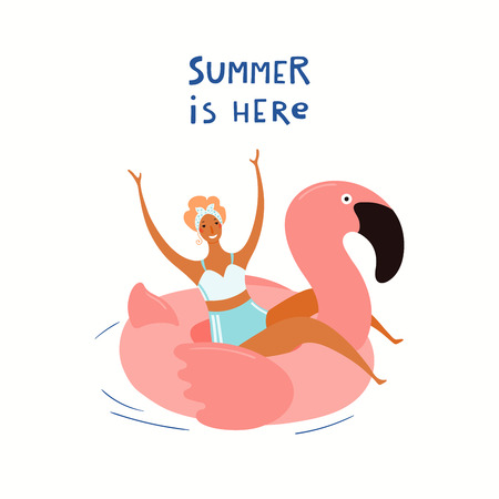 Hand drawn vector illustration of a happy woman on a flamingo float, with lettering quote Summer is here. Isolated objects on white background. Flat style design. Concept, element for poster, banner.