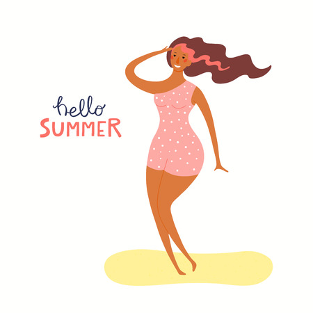 Hand drawn vector illustration of a happy woman on the beach dancing, with lettering quote Hello Summer. Isolated objects on white background. Flat style design. Concept, element for poster, banner. Illustration