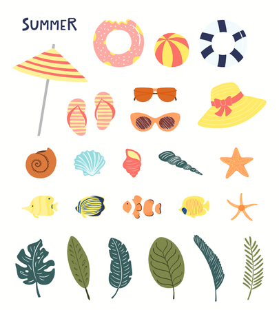 Big summer set with pool floats, seashells, starfish, fish, palm leaves. Hand drawn vector illustration. Isolated objects on white background. Flat style design. Concept, element for poster, banner.