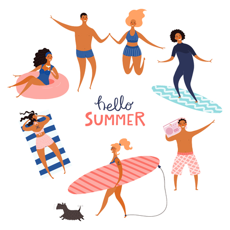 Round frame made of happy people in swimwear, with quote Hello Summer. Hand drawn vector illustration. Isolated objects on white background. Flat style design. Concept, element for poster, banner.