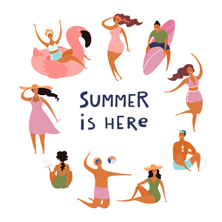Round frame made of happy people in swimwear, with quote Summer is here. Hand drawn vector illustration. Isolated objects on white background. Flat style design. Concept, element for poster, banner.
