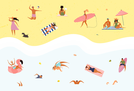Hand drawn vector illustration with happy young people on the beach, swimming, surfing, sunbathing. Flat style design. Concept, element for summer poster, banner, background.