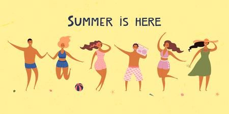 Hand drawn vector illustration with happy young people on the beach, jumping, dancing, with lettering quote Quote. Flat style design. Concept, element for summer poster, banner, background.