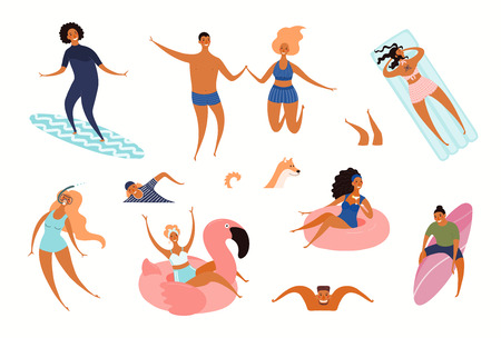 Big set of happy young people on the beach, swimming, surfing. Hand drawn vector illustration. Isolated objects on white background. Flat style design. Concept, element for summer poster, banner.