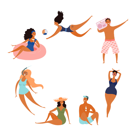 Round frame made of happy people in swimwear, with space for text. Hand drawn vector illustration. Isolated objects on white background. Flat style design. Concept, element for summer poster, banner.