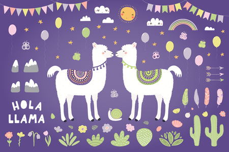 Set of cute llamas, cacti, flowers, plants, bunting, balloons. Isolated objects on violet background. Hand drawn vector illustration. Scandinavian style flat design. Concept for children print.