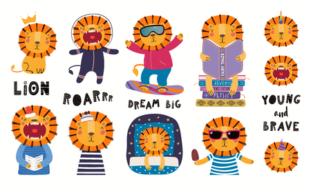 Set of cute lion illustrations, astronaut, king, sailor, unicorn, reading, sleeping. Isolated objects on white background. Hand drawn vector. Scandinavian style flat design. Concept for children print