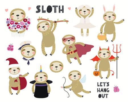 Set of cute sloth illustrations, sailor, superhero, unicorn, Halloween, ballerina. Isolated objects on white background. Hand drawn vector. Scandinavian style flat design. Concept for children print.