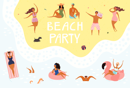 Hand drawn vector illustration with happy young people swimming, dancing, sunbathing, with lettering quote Beach party. Flat style design. Concept, element for summer poster, banner, background.