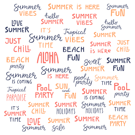 Big set of hand written summer lettering quotes, in blue, orange, pink. Hand drawn vector illustration. Isolated objects on white background. Flat style design. Concept, element for poster, banner.