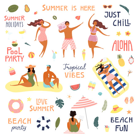 Set of happy people on the beach, quotes, drinks, fruits, palm leaves. Hand drawn vector illustration. Isolated objects on white background. Flat style design. Concept, element summer poster, banner.