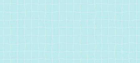 Hand drawn seamless vector pattern with swimming pool floor, white on blue background. Flat style design illustration. Concept for textile print, wallpaper, wrapping paper.