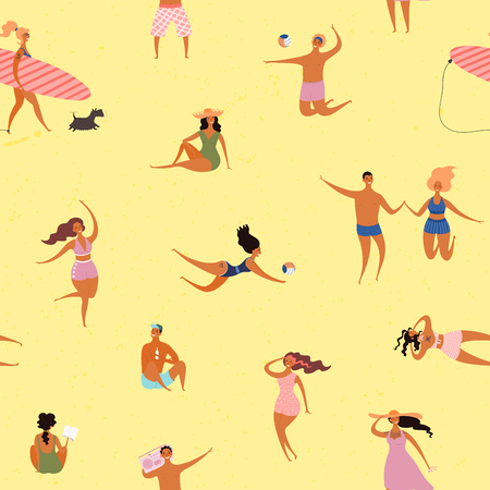Hand drawn seamless vector pattern with happy young people on the beach, sunbathing, on a yellow background. Flat style design illustration. Concept for textile print, wallpaper, wrapping paper. Illustration