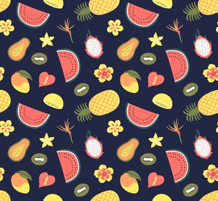 Hand drawn seamless pattern with bright tropical fruits, on a dark blue background. Vector illustration. Flat style design. Concept for textile print, wallpaper, wrapping paper. Stock Illustratie