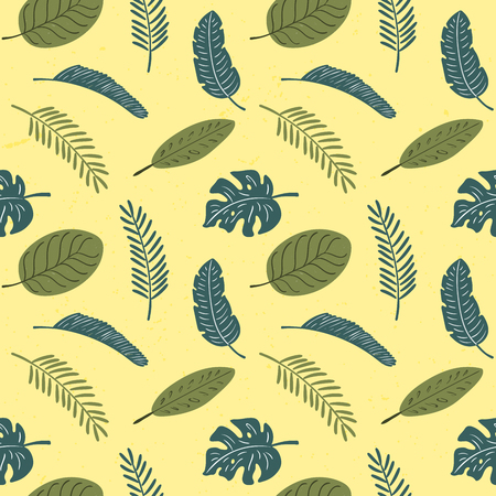 Hand drawn seamless floral pattern with tropical palm leaves, green on yellow background. Vector illustration. Flat style design. Concept for textile print, wallpaper, wrapping paper.