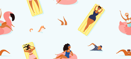 Hand drawn seamless vector pattern with happy young people in the sea, swimming, sunbathing, on a blue background. Flat style design illustration. Concept for textile print, wallpaper, wrapping paper.