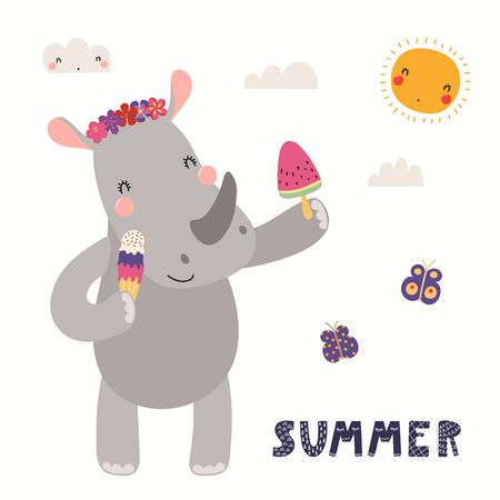 Hand drawn vector illustration of a cute rhino eating ice cream, with lettering quote Summer. Isolated objects on white background. Scandinavian style flat design. Concept for children print.