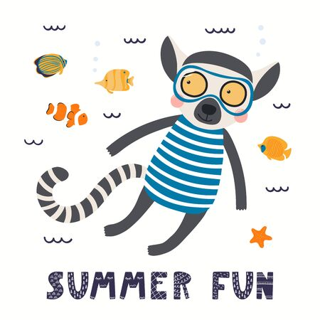 Hand drawn vector illustration of a cute lemur in summer snorkeling, with lettering quote Summer fun. Isolated objects on white background. Scandinavian style flat design. Concept for children print.