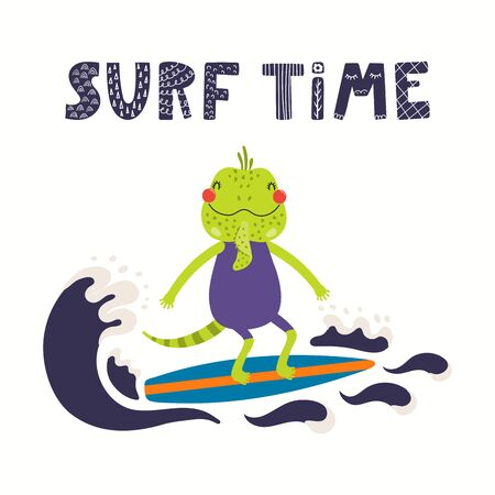 Hand drawn vector illustration of a cute iguana in summer surfing, with lettering quote Surf time. Isolated objects on white background. Scandinavian style flat design. Concept for children print.
