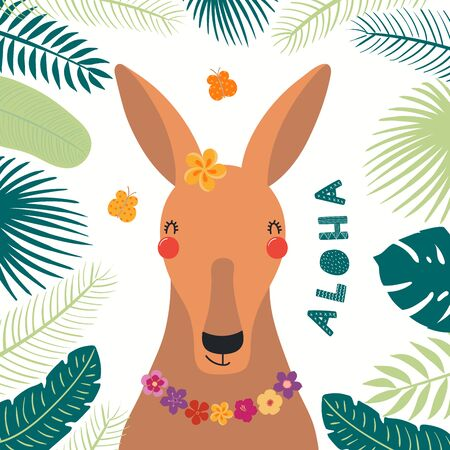 Hand drawn vector illustration of a cute kangaroo in summer in flower necklace, with lettering Aloha. Isolated objects on white background. Scandinavian style flat design. Concept for children print.