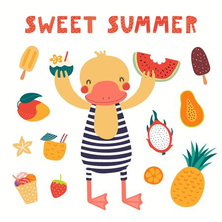 Hand drawn vector illustration of a cute duck in summer, with fruits, food, lettering quote Sweet summer. Isolated objects on white background. Scandinavian style flat design. Concept children print.