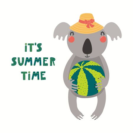 Hand drawn vector illustration of a cute koala with watermelon, lettering quote Its summer time. Isolated objects on white background. Scandinavian style flat design. Concept for children print.