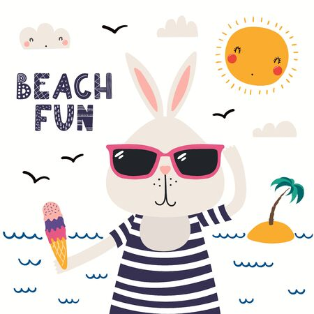 Hand drawn vector illustration of a cute bunny in summer in sunglasses, lettering quote Beach fun. Isolated objects on white background. Scandinavian style flat design. Concept for children print. Stock Illustratie