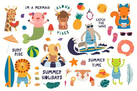 Big summer set with cute animals, quotes, fruits, drinks, pool floats. Isolated objects on white background. Hand drawn vector illustration. Scandinavian style flat design. Concept for children print. 向量圖像