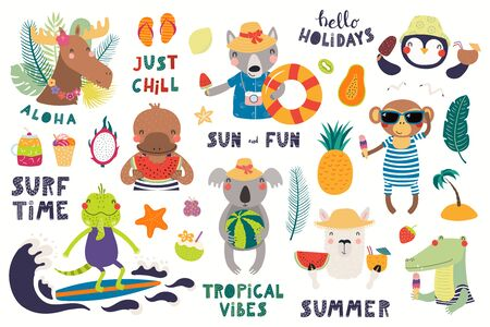 Big summer set with cute animals, quotes, fruits, drinks, pool floats. Isolated objects on white background. Hand drawn vector illustration. Scandinavian style flat design. Concept for children print. Illustration