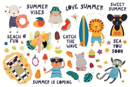 Grand ensemble d'été avec des animaux mignons, des citations, des fruits, des boissons, des flotteurs de piscine. Objets isolés sur fond blanc. Illustration vectorielle dessinés à la main. Design plat de style scandinave. Concept pour l'impression des enfants. Vecteurs