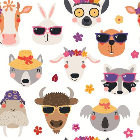 Hand drawn seamless vector pattern with cute animal faces in hats, sunglasses, on a white background. Scandinavian style flat design. Concept for kids summer textile print, wallpaper, wrapping paper. Illustration