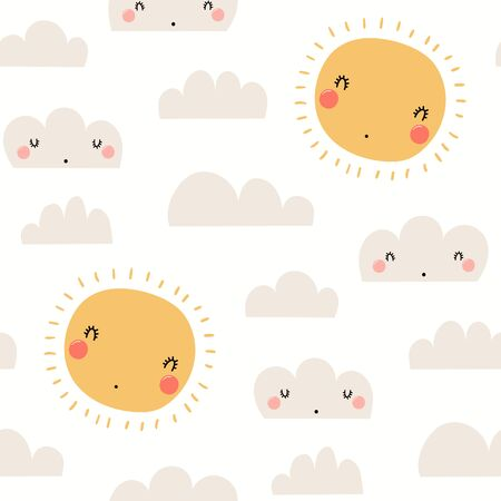 Hand drawn seamless vector pattern with cute sun, clouds, on a white background. Scandinavian style flat design. Concept for children summer textile print, wallpaper, wrapping paper. Archivio Fotografico - 128182706