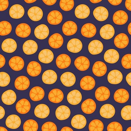 Hand drawn seamless bright vector pattern with orange, lemon slices, on a dark blue background. Scandinavian style flat design. Concept for summer textile print, wallpaper, wrapping paper. 일러스트
