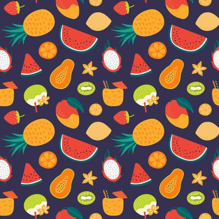 Hand drawn seamless bright vector pattern with tropical fruits, on a dark blue background. Scandinavian style flat design. Concept for summer textile print, wallpaper, wrapping paper. Ilustrace