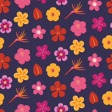 Hand drawn seamless bright vector pattern with tropical flowers, on a dark blue background. Scandinavian style flat design. Concept for summer textile print, wallpaper, wrapping paper.