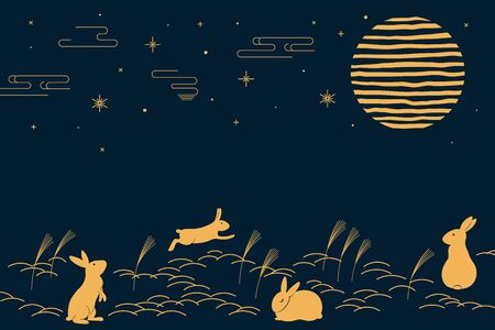 Card, banner design with full moon, cute rabbits in a field of susuki pampas grass, gold on blue. Hand drawn vector illustration. Concept for Japanese holiday Tsukimi, Mid autumn Festival. Flat style.