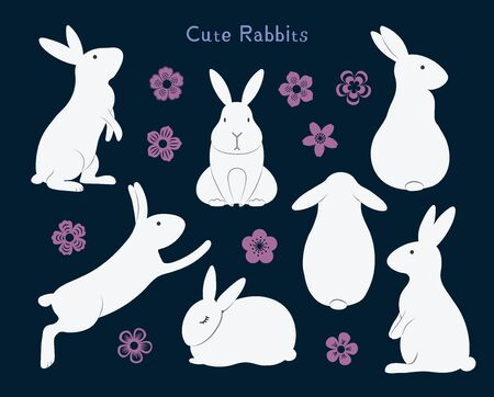 Collection of cute bunny rabbits, with flowers. Isolated objects. Hand drawn vector illustration. Flat style. Design concept for mid autumn festival, Easter, farm animals print.