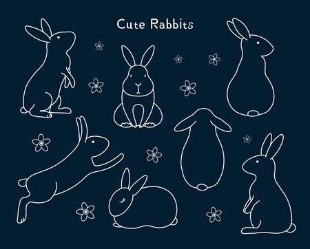 Collection of cute bunny rabbits, with flowers. Isolated objects. Hand drawn vector illustration. Line drawing. Design concept for mid autumn festival, Easter, farm animals print.