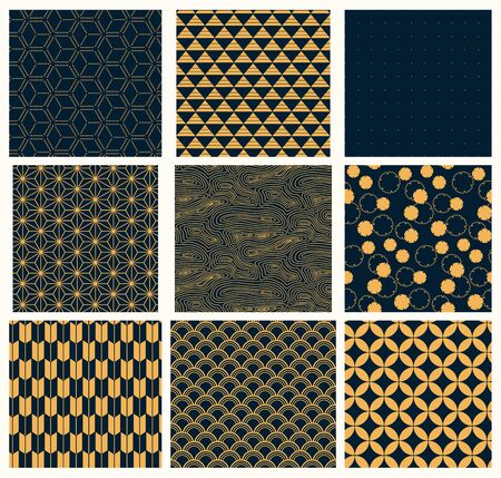 Collection of traditional eastern seamless patterns, golden on dark blue background. Vector illustration. Flat style design. Concept for decorative element, textile print, wallpaper, wrapping paper.