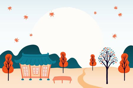 Hand drawn vector illustration for Mid Autumn Festival in Korea, Chuseok, with country landscape, hanok, trees, falling leaves, full moon. Flat style design. Concept for holiday card, poster, banner.