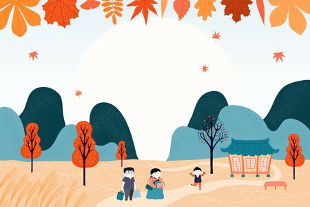 Hand drawn vector illustration for Korean holiday Chuseok, with country landscape, family visiting grandparents, falling leaves, full moon. Flat style design. Concept for card, poster, banner. Ilustrace