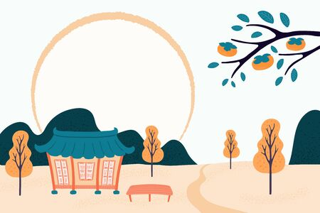 Hand drawn vector illustration for Mid Autumn Festival in Korea, Chuseok, with country landscape, hanok, persimmon tree branch, full moon. Flat style design. Concept for holiday card, poster, banner. Иллюстрация