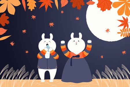 Hand drawn vector illustration for Korean holiday Chuseok with cute rabbits, boy and girl, in hanboks, full moon, autumn leaves. Flat style design. Concept for Mid Autumn Festival card, poster, banner Ilustrace