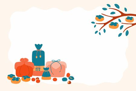 Hand drawn vector illustration for Korean holiday Chuseok, with gifts, persimmons, chestnuts, jujube. Flat style design. Concept for card, poster, banner. Reklamní fotografie - 128182772