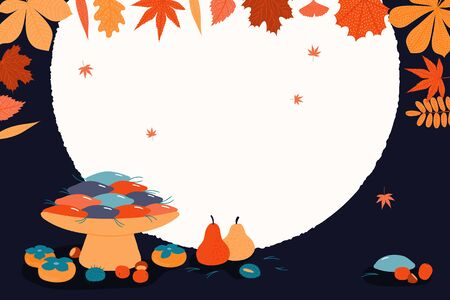 Hand drawn vector illustration for Korean holiday Chuseok, with persimmons, mooncakes, chestnuts, jujube, pears, pine needles, full moon, leaves. Flat style design. Concept for card, poster, banner. Çizim