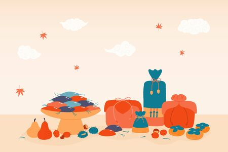 Hand drawn vector illustration for Korean holiday Chuseok, with gifts, persimmons, mooncakes, chestnuts, jujube, pears, pine needles, clouds, leaves. Flat style design Concept card poster banner Reklamní fotografie - 128182774