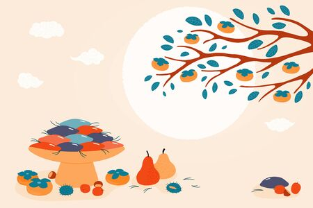 Hand drawn vector illustration for Korean holiday Chuseok, with persimmons, mooncakes, chestnuts, jujube, pears, pine needles, full moon, clouds. Flat style design. Concept for card, poster, banner.